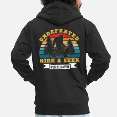 Squatch Bigfoot undefeated Hide & Seek World Champion - Men's Premium Zip Hoodie