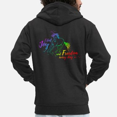 Joy Unicorn - Joy & Freedom - Men's Premium Zip Hoodie