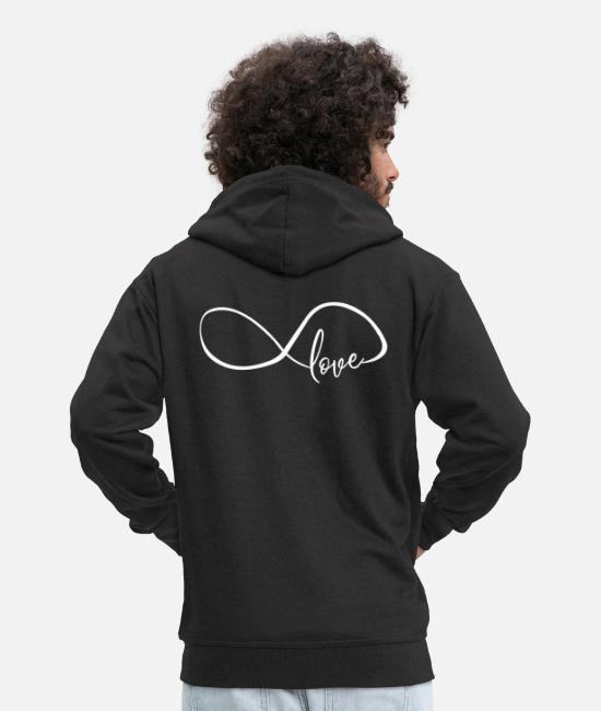Love Hoodies & Sweatshirts - Crooked Infinity Symbol Infinity Love Love - Men's Premium Zip Hoodie black
