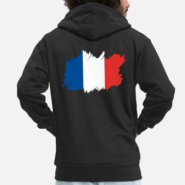 Patriot Frankrikes nationella flagga - borstdiagonal - Premium zip hoodie herr