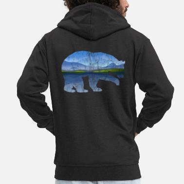 Spirit Bear Mountains Nature Used Look - Mannen premium zip hoodie