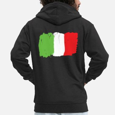 Graffiti Italy flag flag grunge graffiti style football - Men's Premium Hooded Jacket