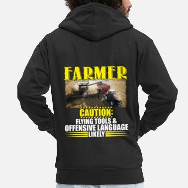 Funky Farmer Caution Flying Tools Offensive Language - Männer Premium Kapuzenjacke