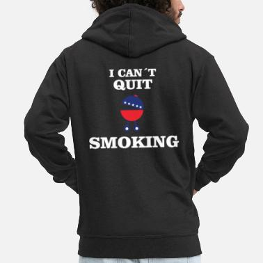Sow BBQ: Can not Quit Smoking - Men's Premium Zip Hoodie