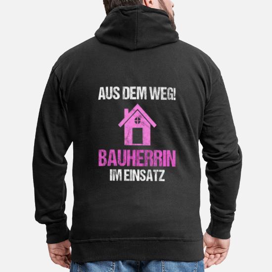 Bauherrin Bauherr Richtfest Hausbau Geschenk Männer Premium Kapuzenjacke Schwarz