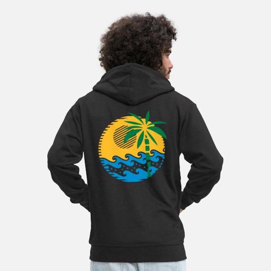 Summertime Hoodies & Sweatshirts - Island, sea and palm summer vacation motive - Men's Premium Zip Hoodie black