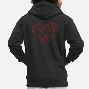 Binary The Binary Heartbeat - Red - Men's Premium Hooded Jacket