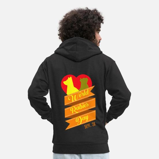 Gift Idea Hoodies & Sweatshirts - World Rabies Day animal welfare disease gift - Men's Premium Zip Hoodie black