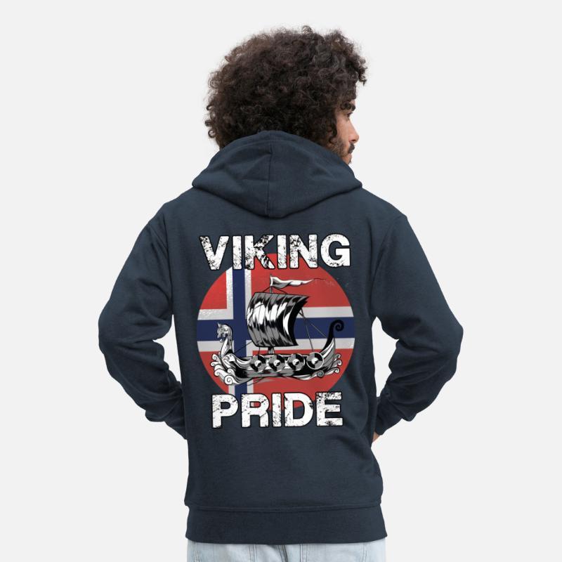 6d47dd4d1 Viking stolthet Norge norsk båt Premium Hettejakke for menn - marine