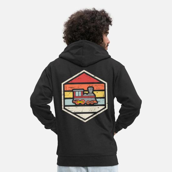 Retro Hoodies & Sweatshirts - Retro Badge Locomotive - Men's Premium Zip Hoodie black