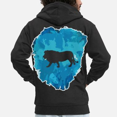 Wild Animal Lion - very cool in the ice block - Men's Premium Zip Hoodie