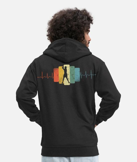 Golf Sport Hoodies & Sweatshirts - Golf heartbeat vintage - Men's Premium Zip Hoodie black