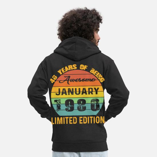 Birthday Hoodies & Sweatshirts - Born January 1980 Limited Edition Bday Gifts 40th - Men's Premium Zip Hoodie black