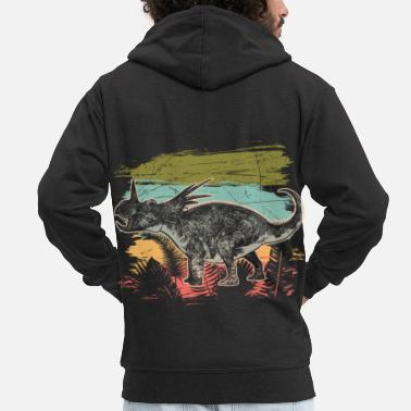 Lizard Diceratops Dinosaur Wilderness Jungle Fossil - Men's Premium Zip Hoodie