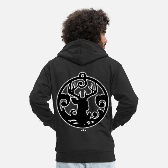 Art Hoodies & Sweatshirts - Reindeer! - Men's Premium Zip Hoodie black