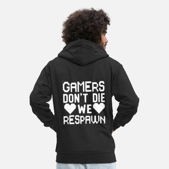 Game Hoodies & Sweatshirts - Gamer do not we respawn - with heart - Men's Premium Zip Hoodie black
