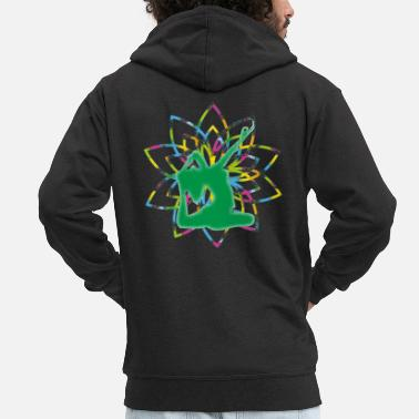 Yoga woman in front of life flower - Men's Premium Zip Hoodie