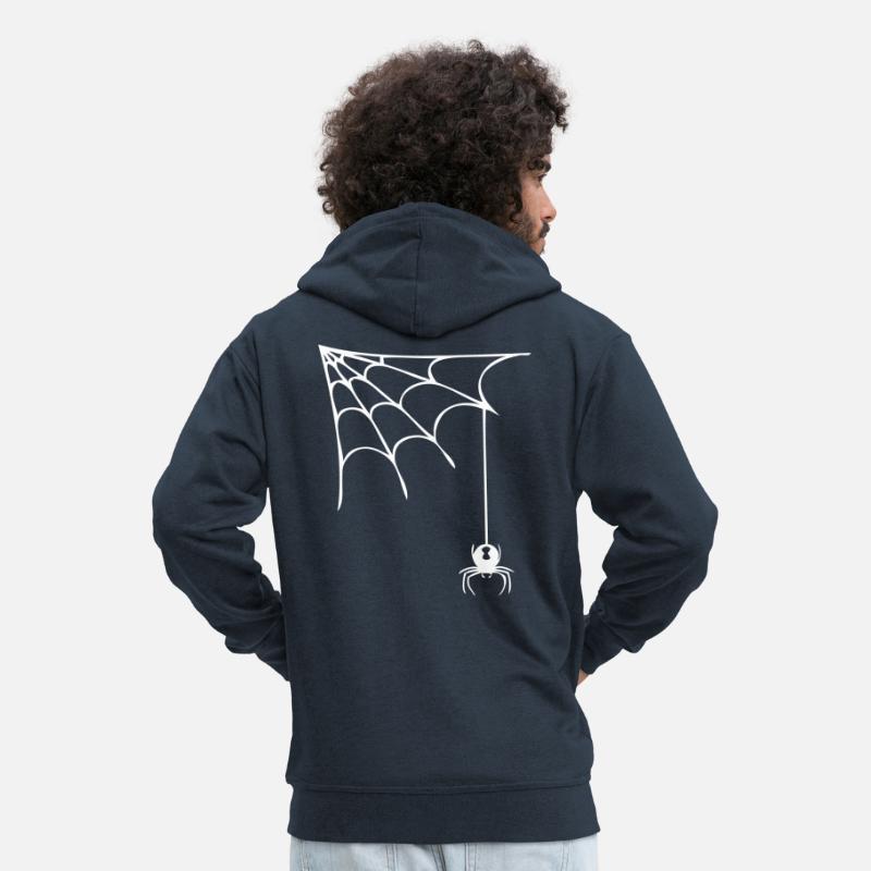 Spinne mit Netz schwarze Witwe Farbe wählbar Männer Premium Kapuzenjacke Navy