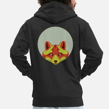 Red | Fox | Head | Big | Eyes | Surprised | Looking | Hole - Men's Premium Zip Hoodie