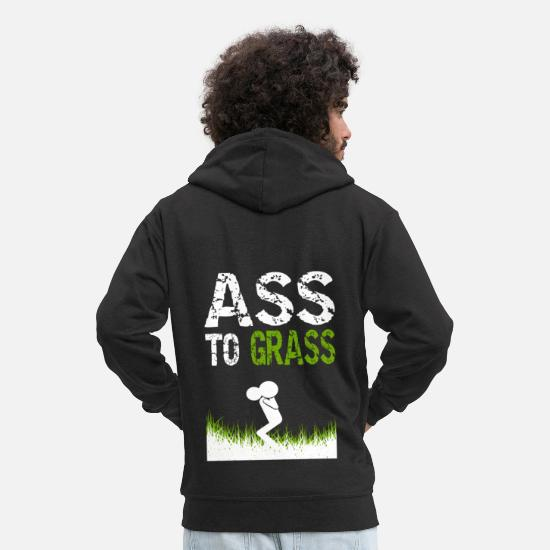 Body Building Pullover & Hoodies - Ass to Grass Fitness gift idea - Männer Premium Kapuzenjacke Schwarz