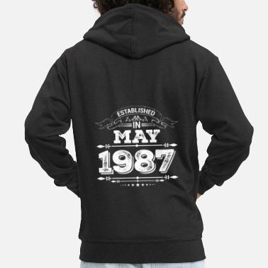 Established Established in May 1987 - Mannen premium zip hoodie