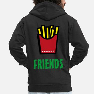 Cupid Best Friends Burger & Fries Fries Fries Fries - Men's Premium Zip Hoodie