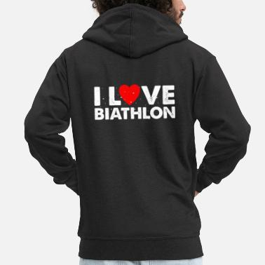 Due I Love Biathlon T-Shirt Gift Cross-Country - Felpa con zip premium uomo