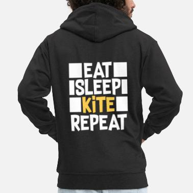 Kiteboard Eat Sleep Kite Repeat T-Shirt Gift - Men's Premium Zip Hoodie