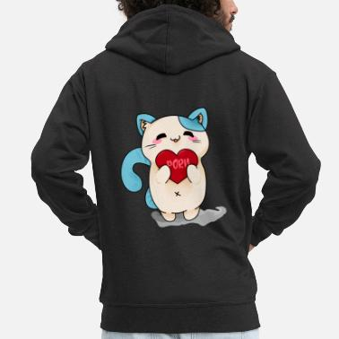 Porn Bluecat porn heart - Men's Premium Hooded Jacket