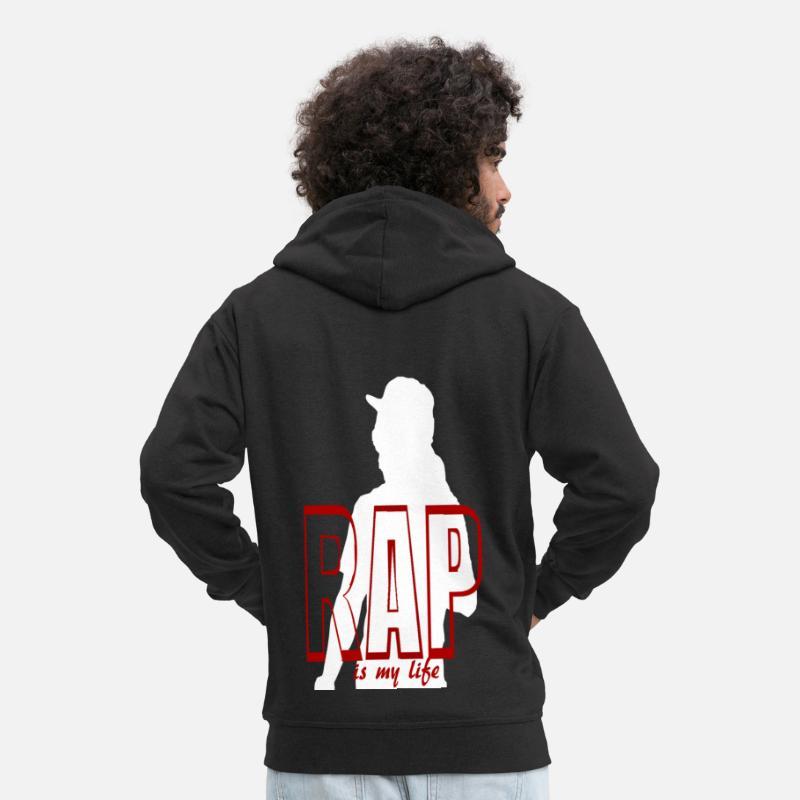 Rap Sudaderas - rap is my life - Chaqueta con capucha premium hombre negro 852041bdbca