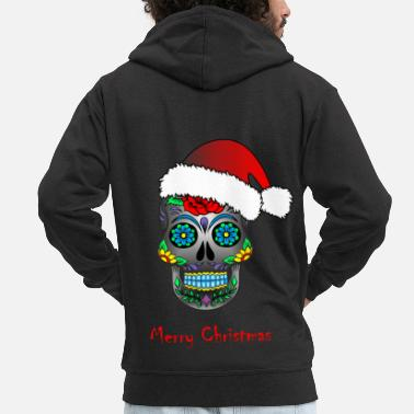 Death Mexican death mask Merry Christmas - Men's Premium Hooded Jacket