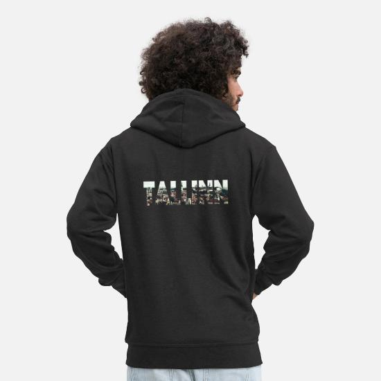 Lettering Hoodies & Sweatshirts - Tallinn Estonia Photoart City City Old Town - Men's Premium Zip Hoodie black