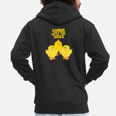 Hang Out Hang out with the chicks - Men's Premium Zip Hoodie
