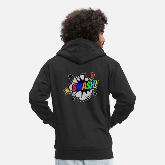 Comic Hoodies & Sweatshirts - Smash comic bubble comic style - Men's Premium Zip Hoodie black
