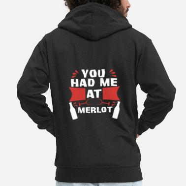 Red Red wine You had me at Merlot - Men's Premium Zip Hoodie
