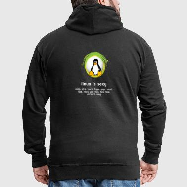 Computer system penguin nerd pc inside code admin - Men's Premium Hooded Jacket