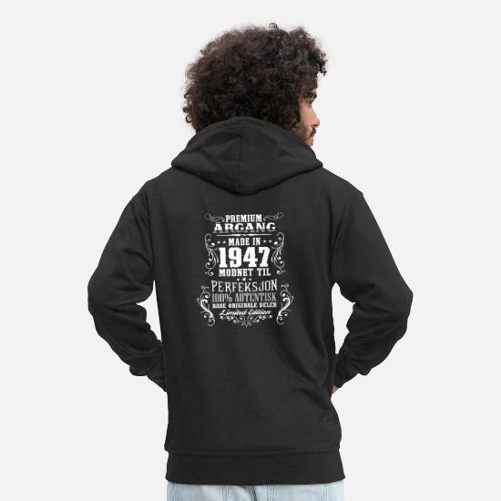Birthday Hoodies & Sweatshirts - 1947 71 premium årgang bursdag gave NO - Men's Premium Zip Hoodie black