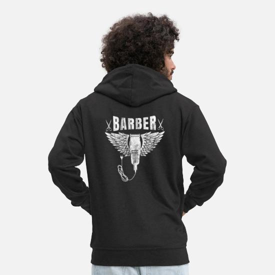 Barber Hoodies & Sweatshirts - Barber shop barbers barber shirt gift beard - Men's Premium Zip Hoodie black