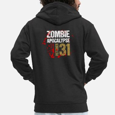Blood Splatter Halloween zombie blood splatter gift - Men's Premium Hooded Jacket