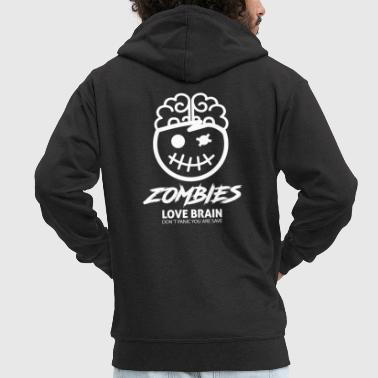 Halloween Zombies love Brain T-Shirt Gift - Men's Premium Hooded Jacket