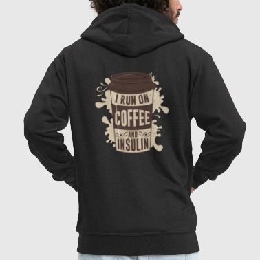 I run on coffee and insulin - Men's Premium Hooded Jacket