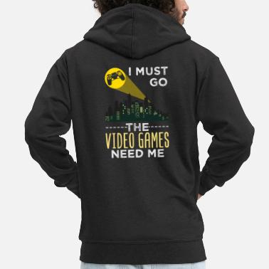 Video I Must Go Video Games Need Me Super Hero Signal - Männer Premium Kapuzenjacke