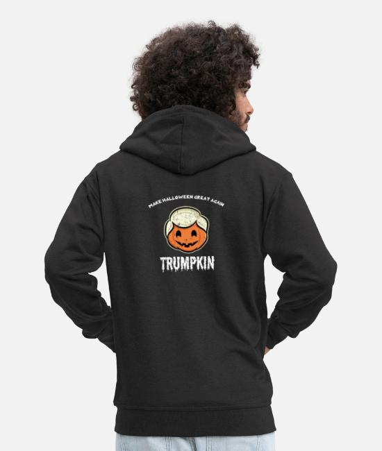 Halloween Costume Hoodies & Sweatshirts - Halloween Trumpkin Make Halloween Great Trump - Men's Premium Zip Hoodie black