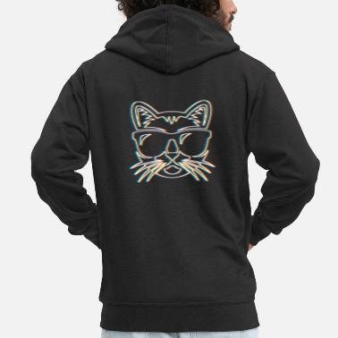 Psy-trance Psychedelic Cat Gift Psy Trance Music Trippy - Men's Premium Hooded Jacket