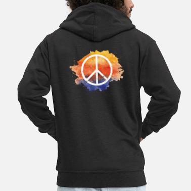 Global Symbol peace gift world peace hippie - Men's Premium Zip Hoodie