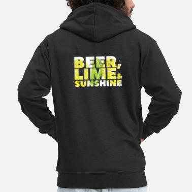 Beer Lime and Sunshine Summer Beach Beer Gift - Men's Premium Zip Hoodie