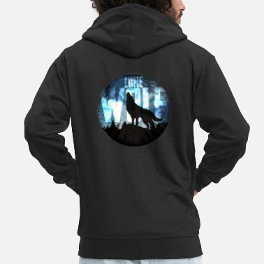Lonely Lone wolf - Men's Premium Zip Hoodie