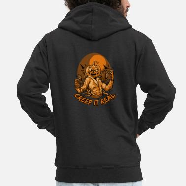Creep it Real - Ugly Halloween - Scarecrow - Men's Premium Zip Hoodie