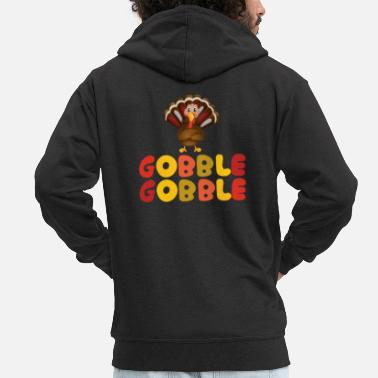 American Indian Thanksgiving Turkey Gobble Cute Holiday Gift - Men's Premium Zip Hoodie