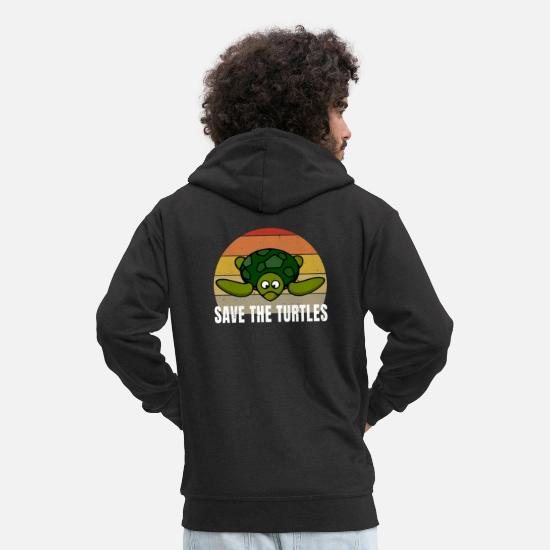 Amore Felpe - Save The Turtles Vintage Retro Style Distressed - Felpa con zip premium uomo nero